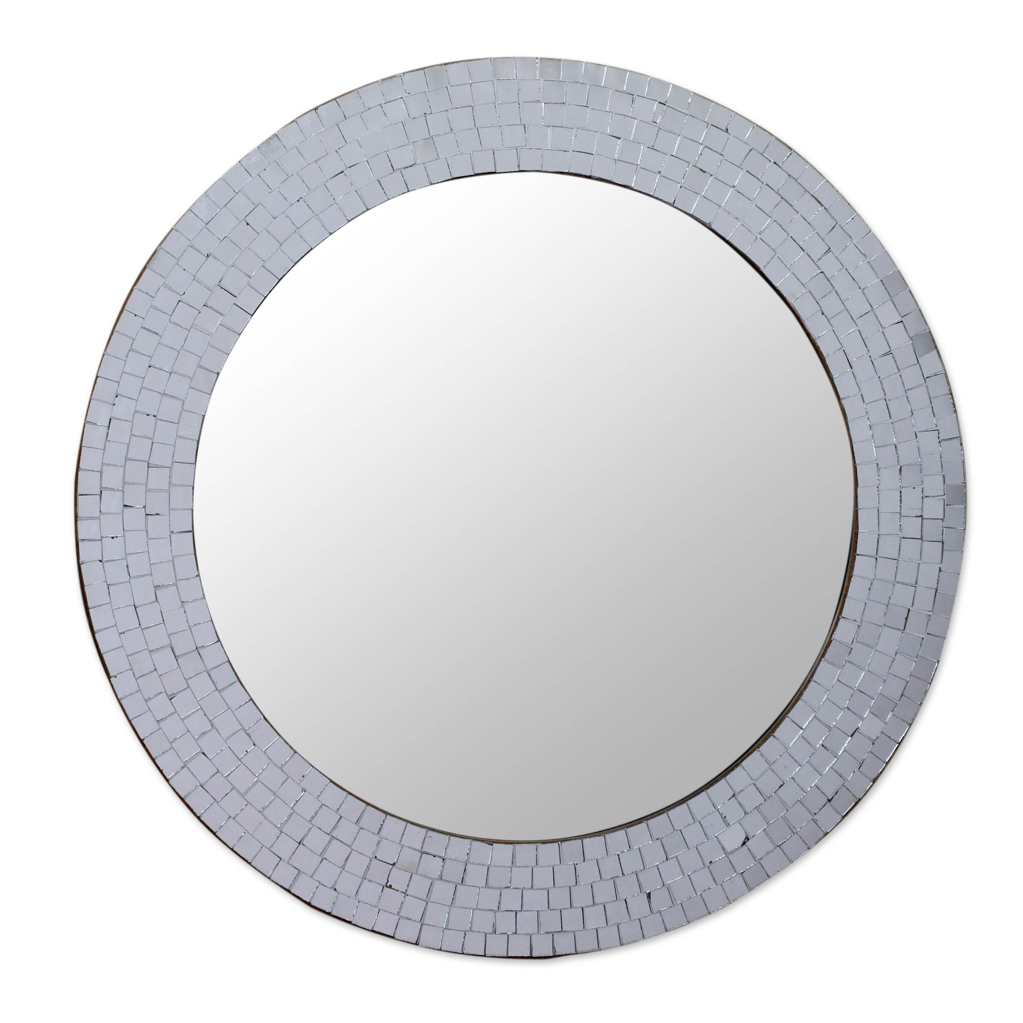 NOVICA Mosaic Glass Circle Wall Mounted Mirror From India, Metallic 'Silvery Glamour'
