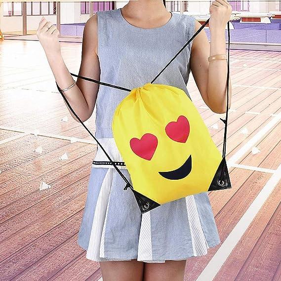 Emoji Drawstring Backpack Bag, 6 Bolsillos Impermeables de Poliéster con Cordón Para Las Fiestas de Cumpleaños Infantiles, La Escuela, Halloween y Navidad, ...