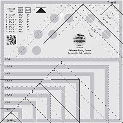 Creative Grids Ultimate Flying Geese Template and Quilt Ruler CGRDH4