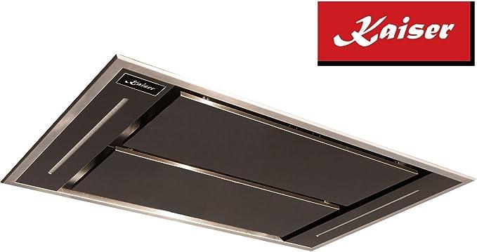 Kaiser EA 1145S Eco Premium Line techo Campana 110 cm novedad/Campana Acero inoxidable negro metal/inlusive saugstarken Motor 1250 M³/h/Campana empotrable/inkluisve mando a distancia/Iluminación LED/Turbo Nivel/Canalizado y recirculación techo Campana ...