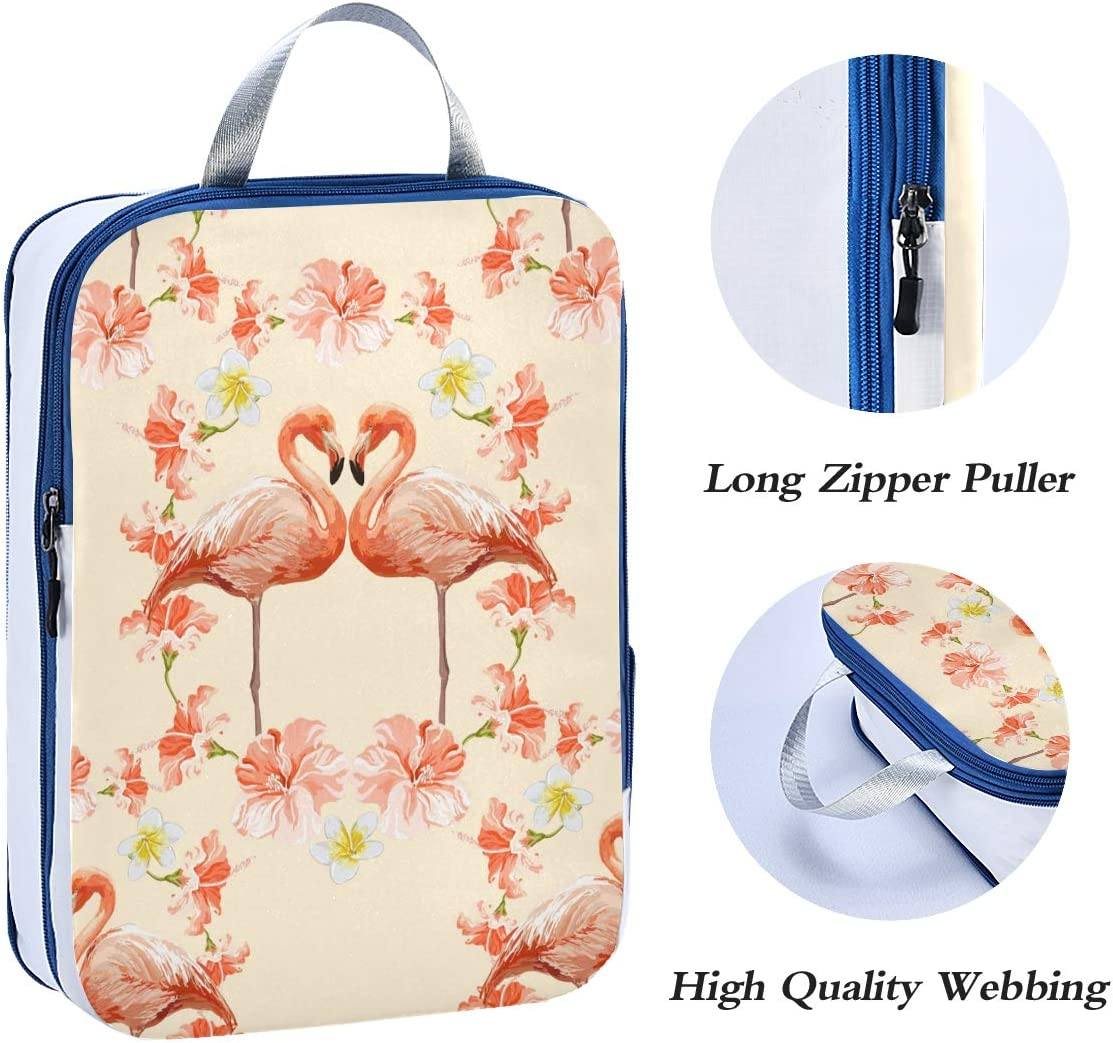 ATONO Tropical Flamingo And Hibiscus Watercolor Travel Packing Cubes Luggage Organizer Bags Storage 3 Pack Sets Toiletries Shoe Bag for Business Trip Holiday Kids/&Adults