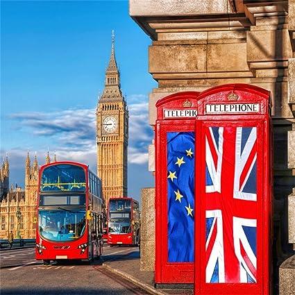 OFILA London Backdrop 5x5ft Big Ben Photography Background Westminster Palace London Street Red Bus British Union