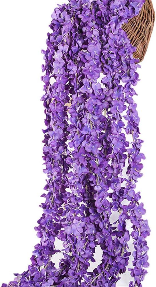Crt Gucy 2 Pack 13 FT Artificial Hydrangea Flower Vine Wisteria Vines Cattleya Flowers Plants for Home Hotel Office Wedding Party Garden Craft Art Décor, Dark Purple