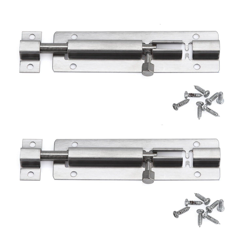 Creatyi 4.5'' Stainless Steel Door Cupboard Latch Sliding Lock Barrel Bolt (2 PCS)