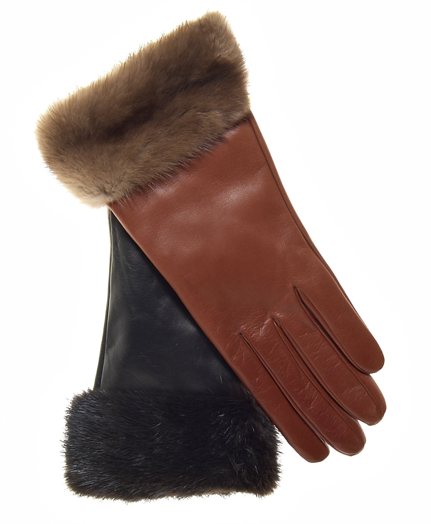 Fratelli Orsini Women's Italian Cashmere Lined Leather Gloves with Mink Cuff Size 7 Color Black