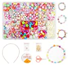 Children DIY Bead Set, Ucradle 500pcs Pony Alphabet Pop Beads for Making Necklace Bracelet Ring, Art Craft & Jewellery Making Kit for Kids Girls Age 4 5 6 7 8, 24 Types