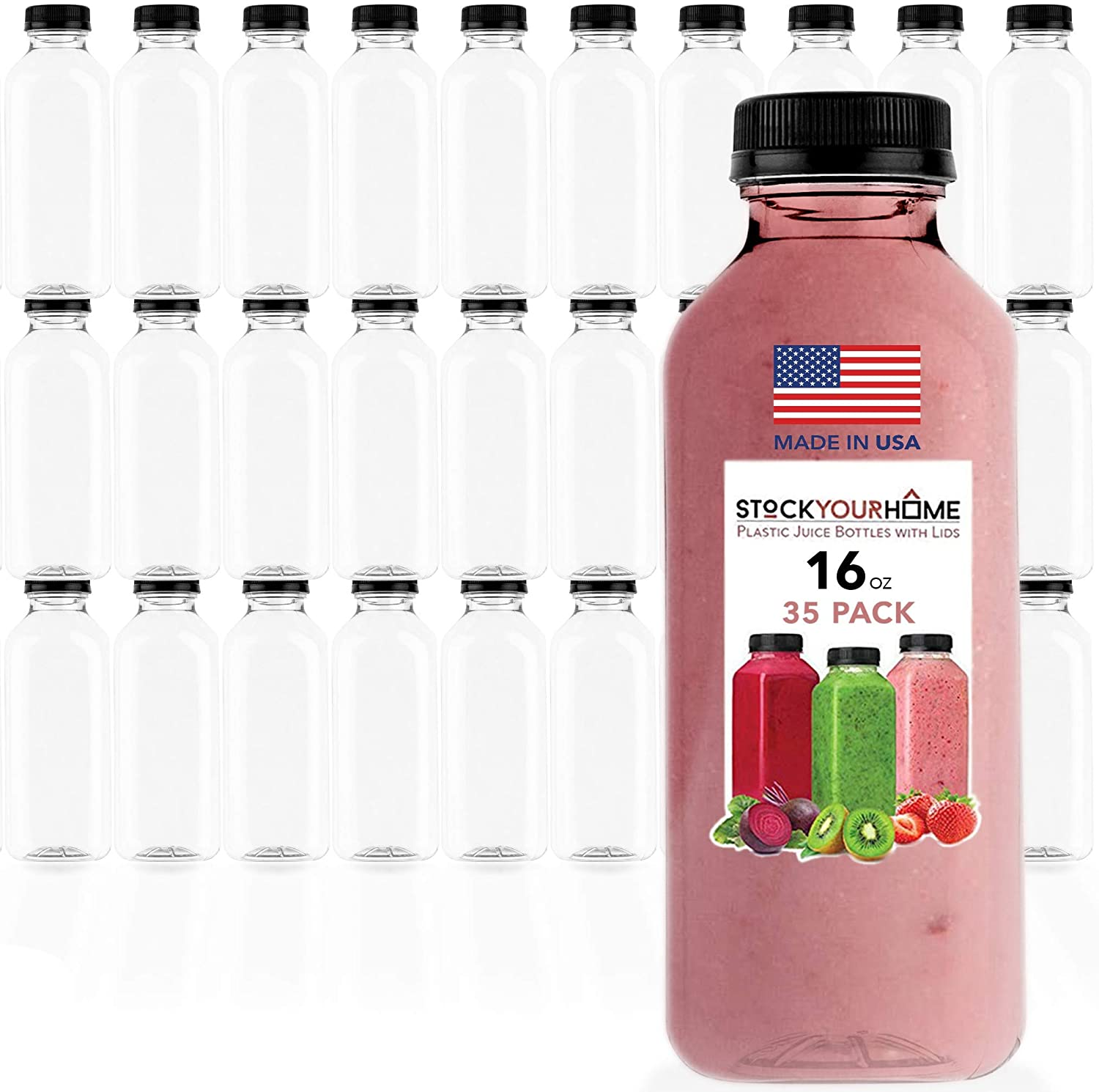Plastic Juice Bottles with Lids, Juice Drink Containers with Caps for Juicing Smoothie Drinking Cold Beverages, 16 Oz, 35 Count