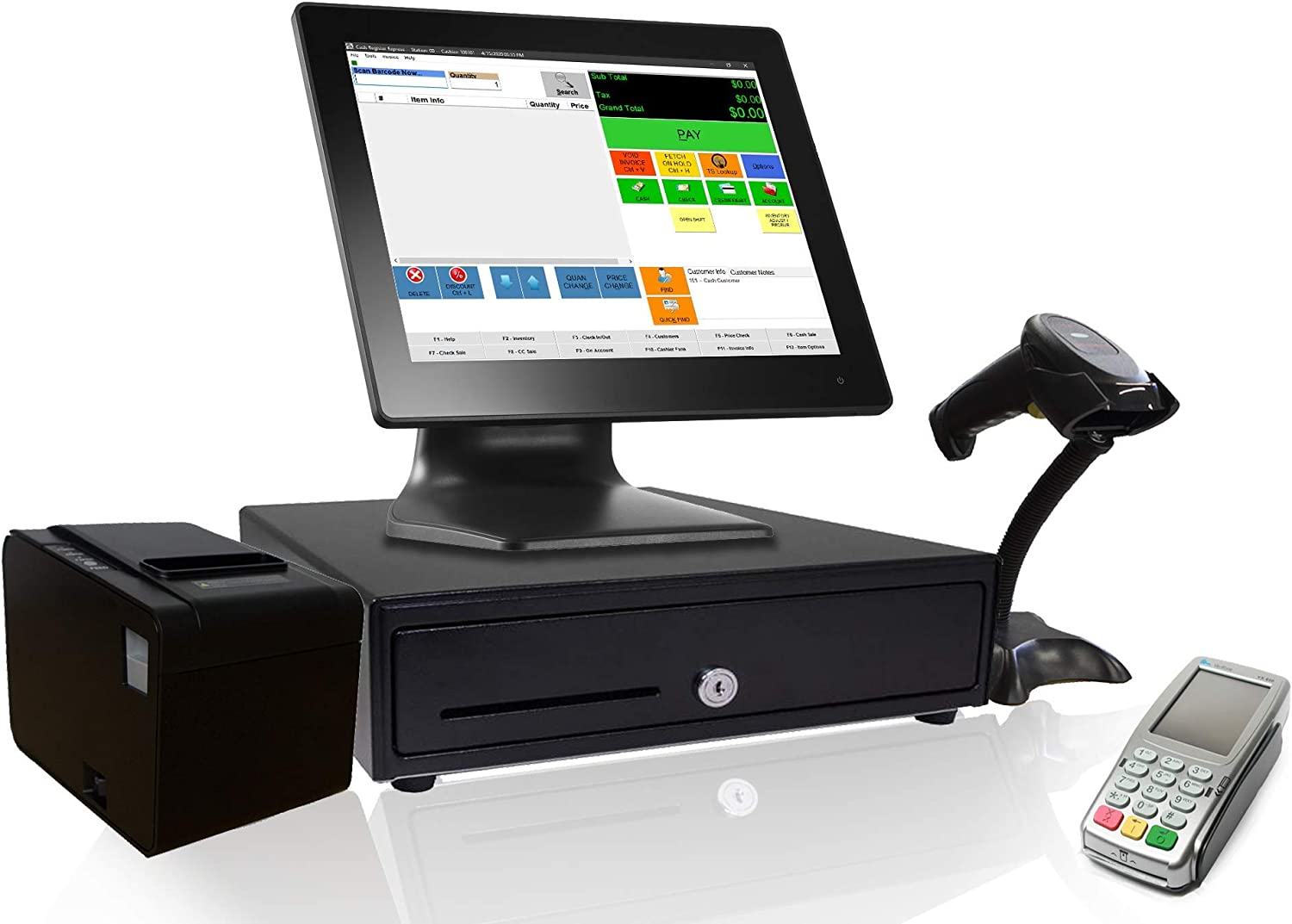 Retail Point of Sale System and Cash Register Drawer CRE Includes Touchscreen PC Wireless Scanner POS Software Receipt Printer