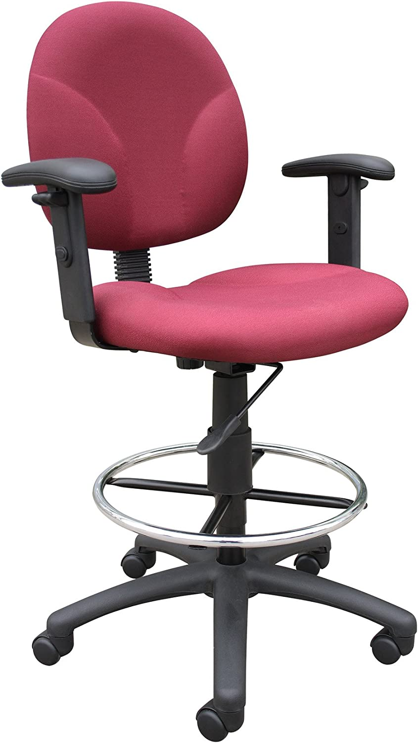 Boss Office Products B1691-BY Stand Up Fabric Drafting Stool with Adjustable Arms in Burgundy