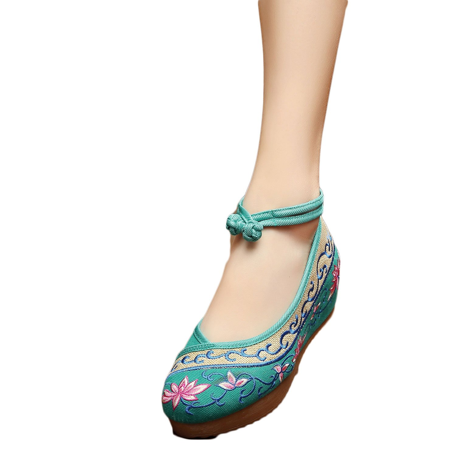 EXCELLANYARD Women's Embroidery Platform Wedges B01KL8G3I8 6 B(M) US|04-green