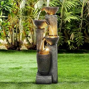 """Agoodping 40"""" 4-Tier Pots Outdoor Garden Water Fountain - Outdoor Water Fountain for Yard, Floor Patio, Backyard and Home Art Decor"""