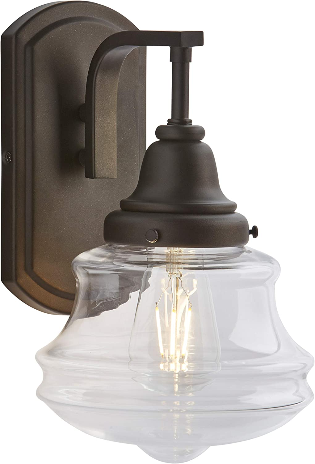 Antique Bronze 7 x 7 x 11.5 Inches Stone /& Beam Vintage Indoor Outdoor Wall Sconce with Light Bulb And Clear Glass Shade