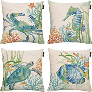 GTEXT Set of 4 Ocean Beach Outdoor Throw Pillow Covers Turtle Crab Seahorse Fish Decorative Sea Coastal Theme Decor Cushion Square Pillowcase 18x18 Beach Pillows for Patio Couch Sofa,Marine Animals