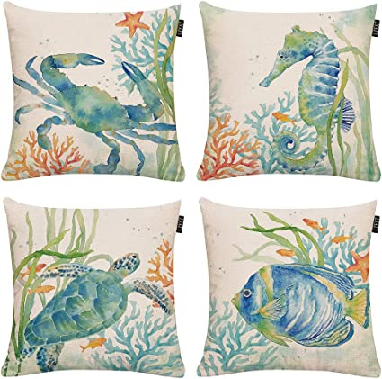 Set Of 4 Ocean Beach Outdoor Throw Pillow Covers Turtle Crab Seahorse Fish Decorative Sea Coastal Theme Decor Cushion Square Pillowcase 18x18 Inch Beach Pillows For Patio Couch Sofa Marine Animals Home Kitchen Amazon Com