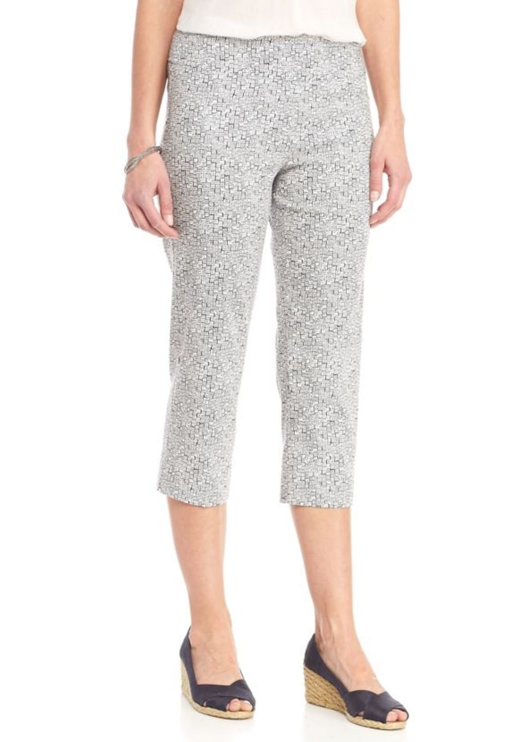 New Directions Women's Printed Millennium Pull-On Crop Pant (White Navy Blazer, 14)