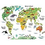 HUABEI Adesivi Murali Mondo Mappa Del Mondo dei Cartoni Animati Simpatico Animale Stickers Murali Decorazione Camera da Bambini (Colore)