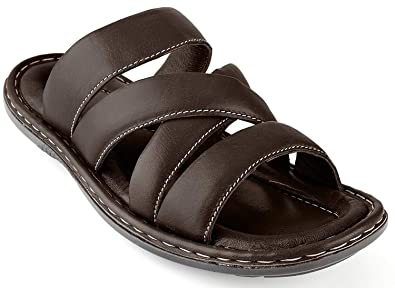 dce1d5581f6 Men s Sandals Top Grain Leather Soft Cushion Footbed - Twisted Design Brown  11