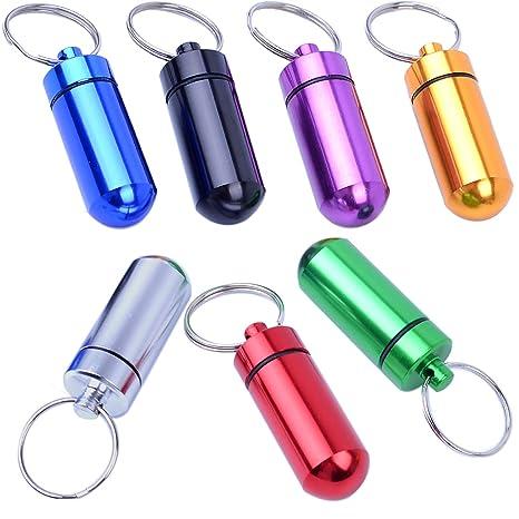 Amazon.com: bonayuanda 7pcs Mini impermeable píldora llavero ...