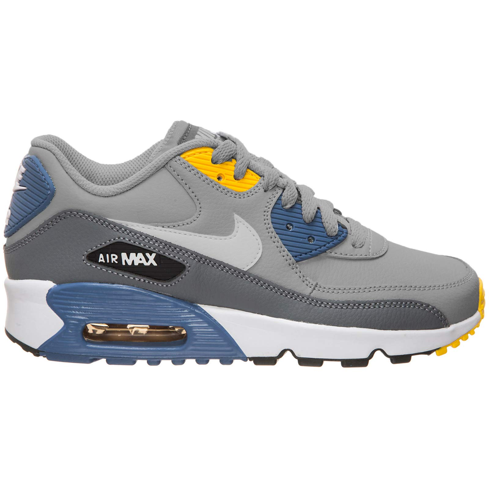 Nike Youth Air Max 90 LTR Leather Wolf Grey Indigo Trainers 6.5 US