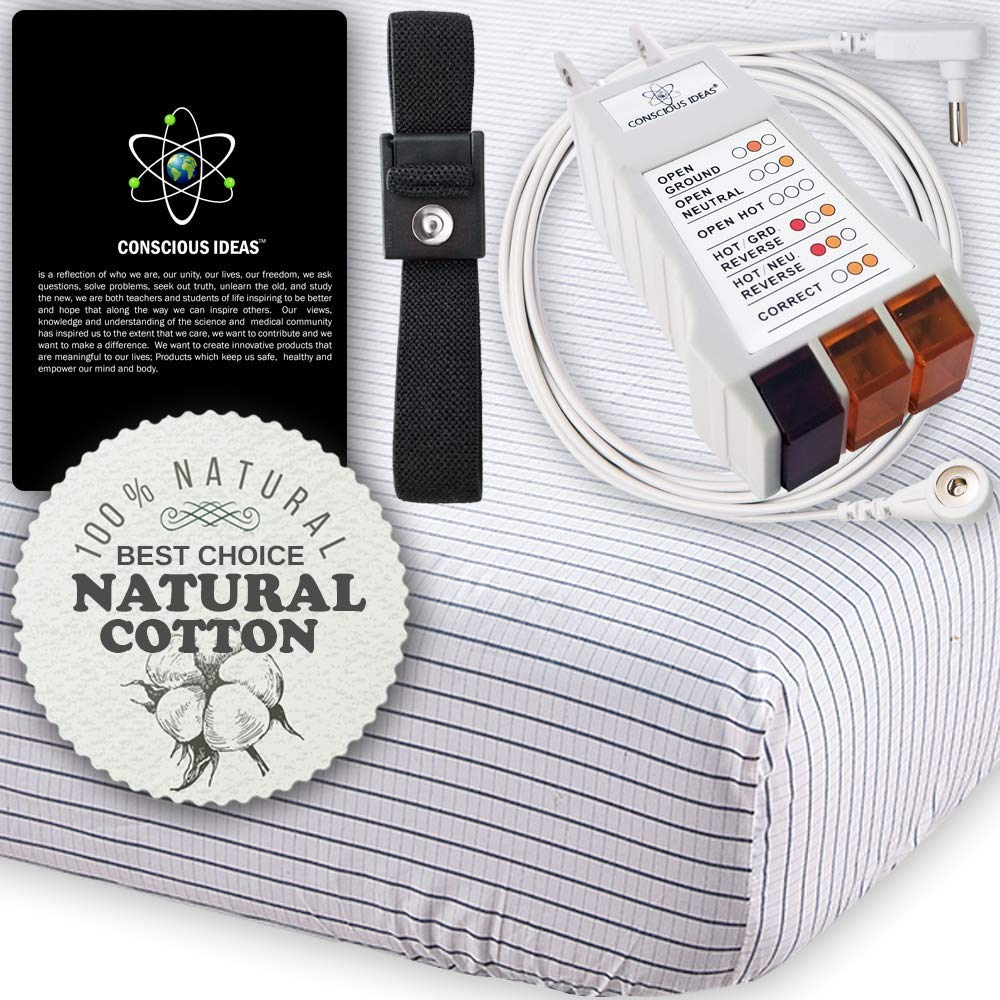 Earthing Grounding Sheet Grounded Fitted Mattress Sheets (white-Grey Strips) Conductive 400TC 95% Natural Cotton 5% Pure Silver Thread Healthy Earth Energy therapy bedding USA Tester Cord (Queen Size)