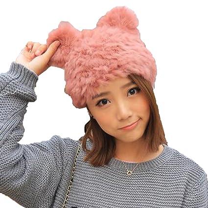 00110f833b5 Amazon.com  LAN-GO Fashion Cute Cat Ears Hat Women Winter Warm Lady ...