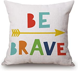 "JES&MEDIS ""BE Brave Lettering Pillowcase Cotton Linen Cushion Covers Wedding Party Decorative Throw Pillows Cases for Sofa Bed,18x18 Inches"