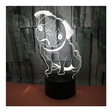 Chien 3d Lampe Illusion DEL mignon sans fil
