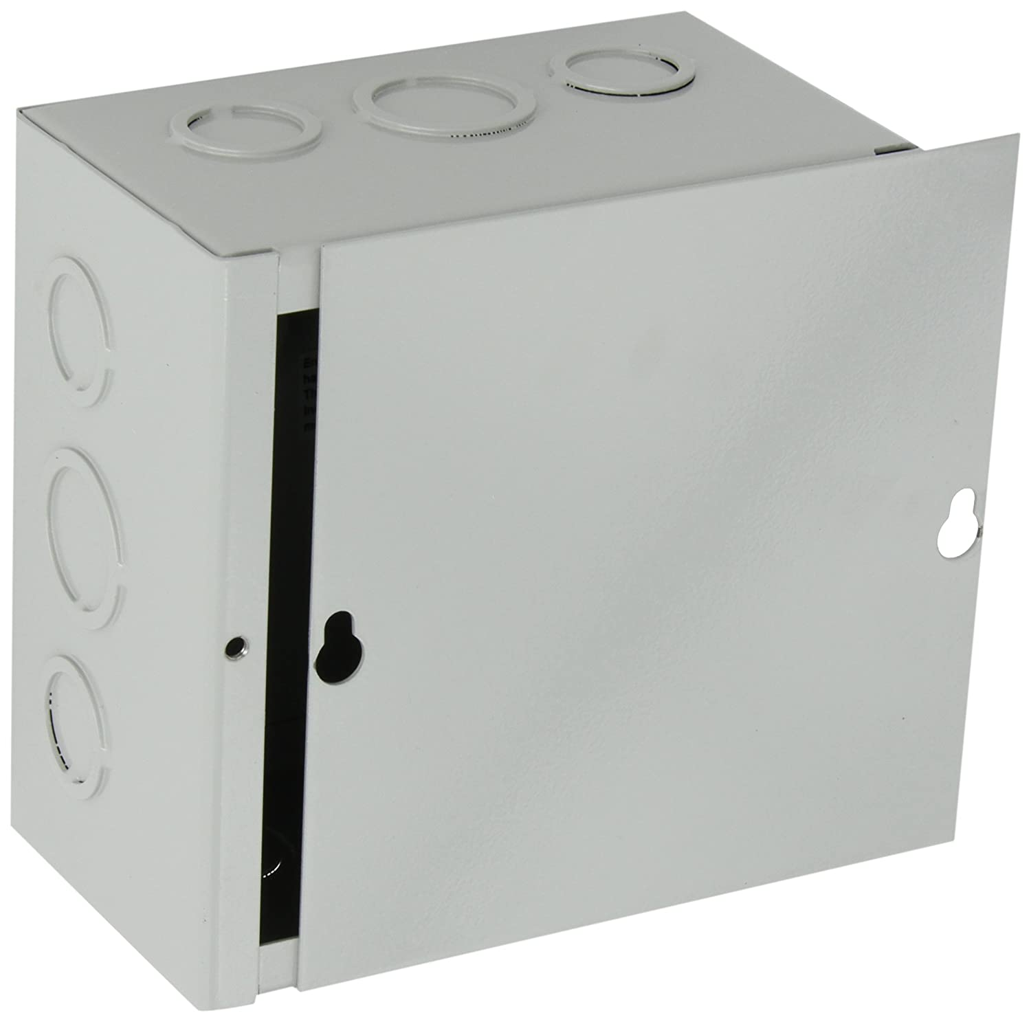 BUD Industries JB 3945 KO Steel NEMA 1 Sheet Metal Junction Box with Knockout and Lift off Screw Cover 6 Width x 6 Height x 3 1 2 Depth Gray Finish