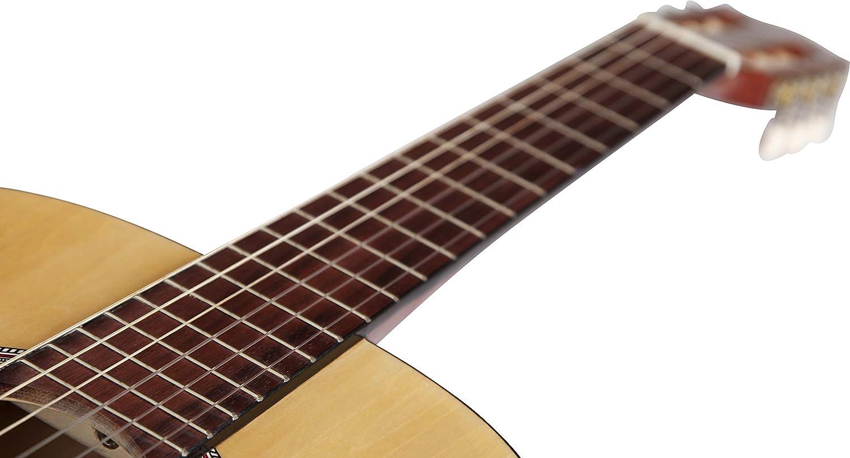 Stretton Payne Guitarra clásica tamaño completo 4/4 (99 pulgadas) estilo español clásica guitarra acústica paquete de cuerdas de nailon.