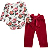 Camidy Newborn Infant Baby Girl Long Sleeve Floral Romper + Bowknot Pants Outfit Set