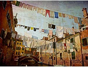 Wee Blue Coo Clotheslines Venice Washing Line Laundry by Cityscape Unframed Wall Art Print Poster Home Decor Premium