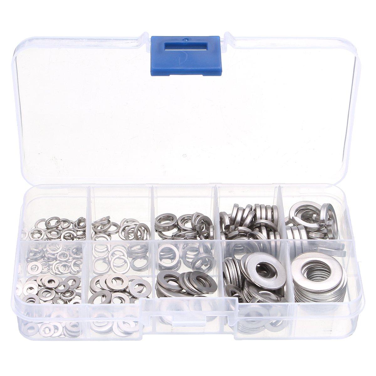 Utini 260Pcs Stainless Steel Flat Spring Washers Metal Lock Washer Assortment Set