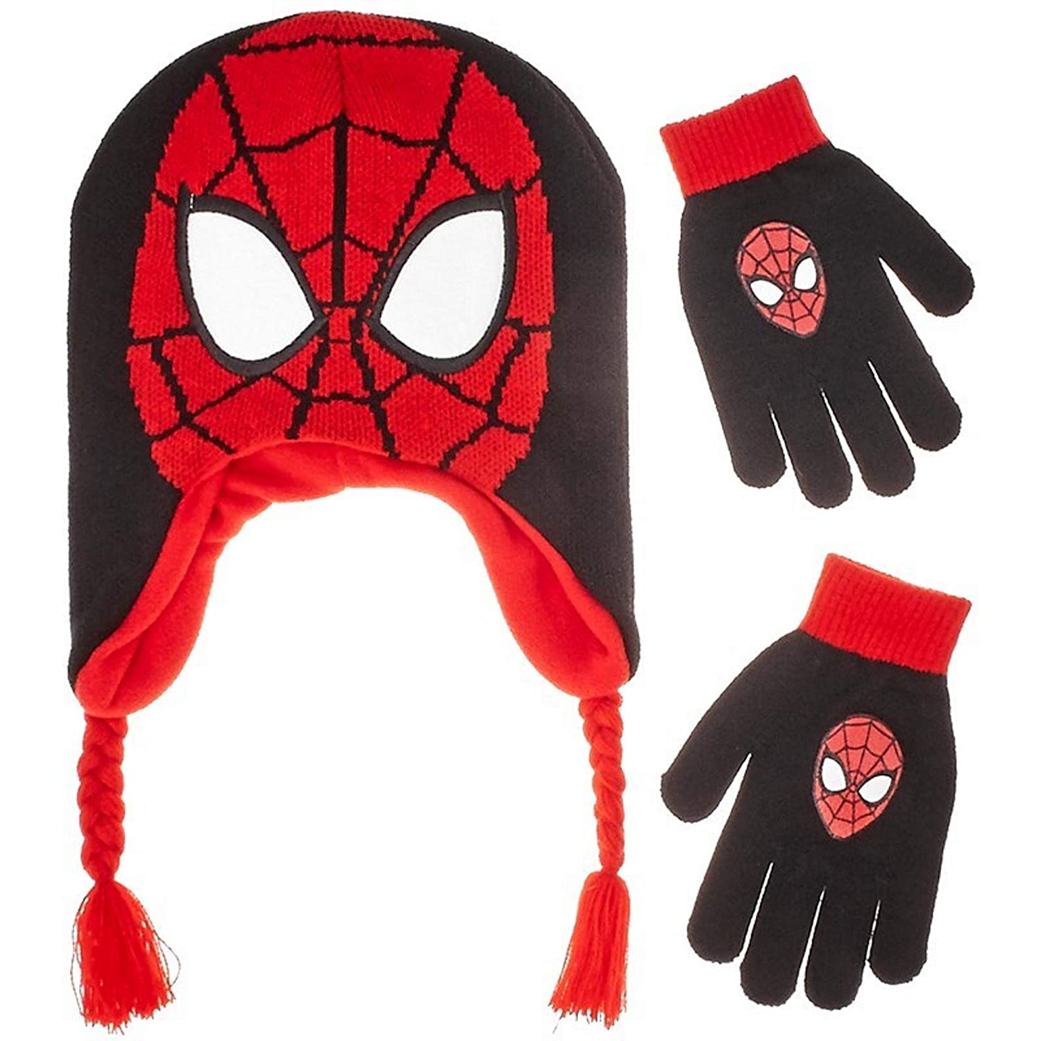 Ultimate SPIDERMAN Boys Earflap Winter Knit Hat and Gloves Set