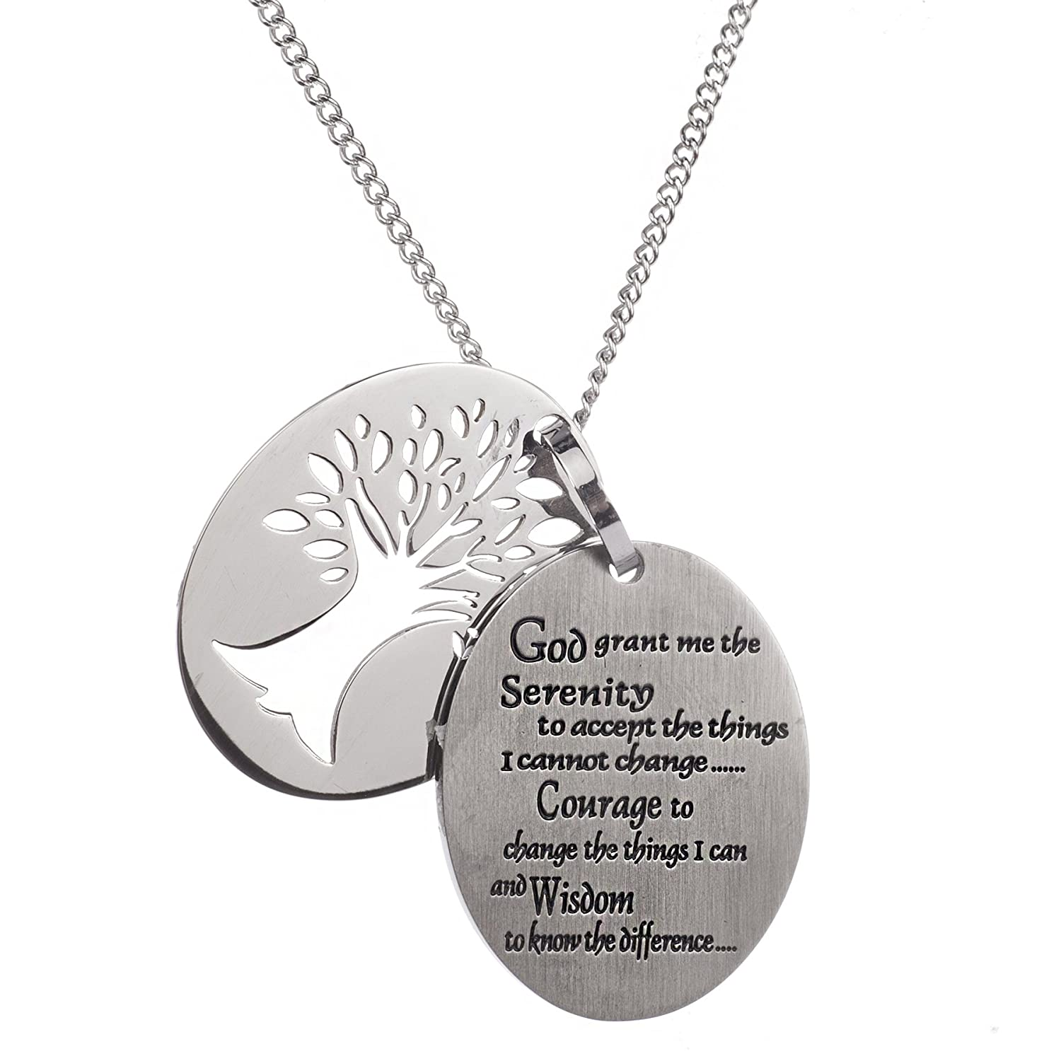 High Polished Stainless Steel Tree of Life Pendant, Serenity Prayer Necklace