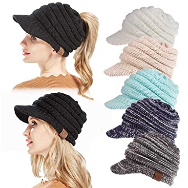 e0aa190d9358 Image Unavailable. Image not available for. Color: EERA Women's Beanie Tail  Hat Ribbed Knit Winter Messy High Bun Hat Ponytail Visor Beanie Cap
