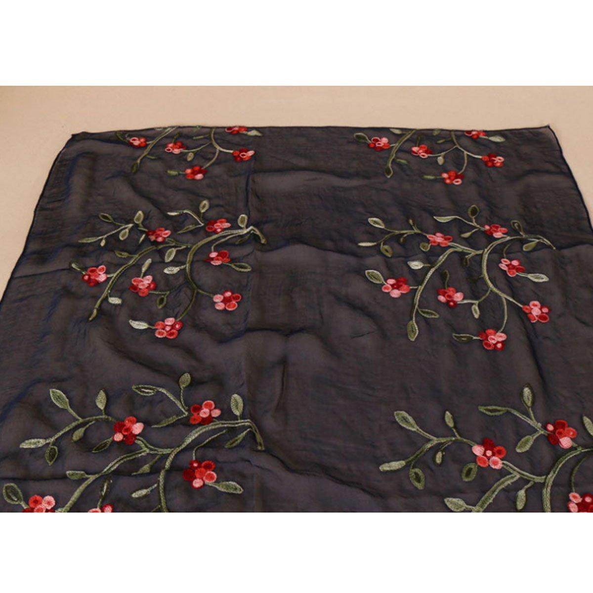 Meliya Fashion Lady Women Long Scarf Ultra-thin Floral Embroidery Sheer Chiffon Shawl Wrap Sunscreen