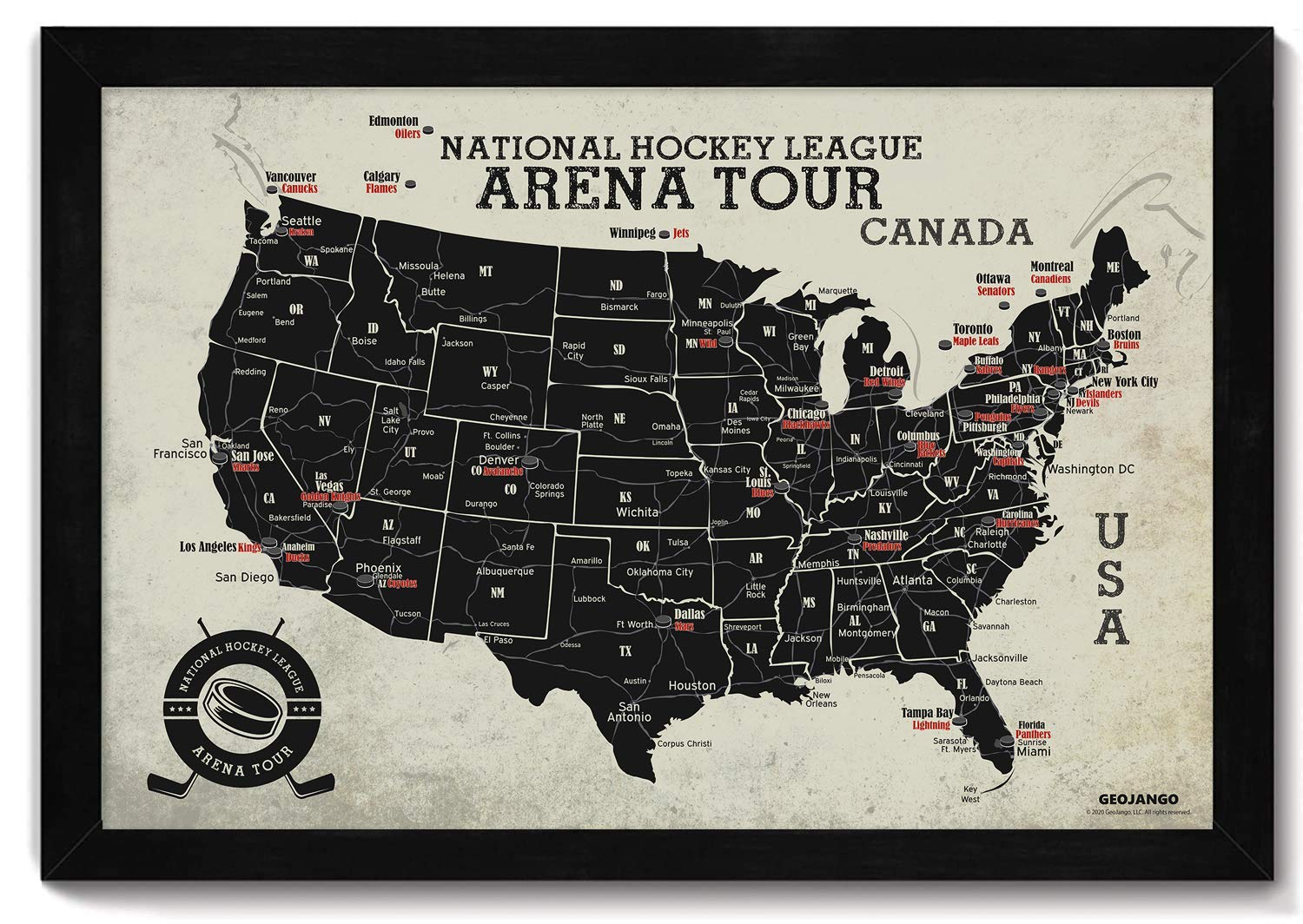 Features All Professional Hockey Teams /& Arenas Framed Hockey Arena Map Includes 35 Red Push Pins