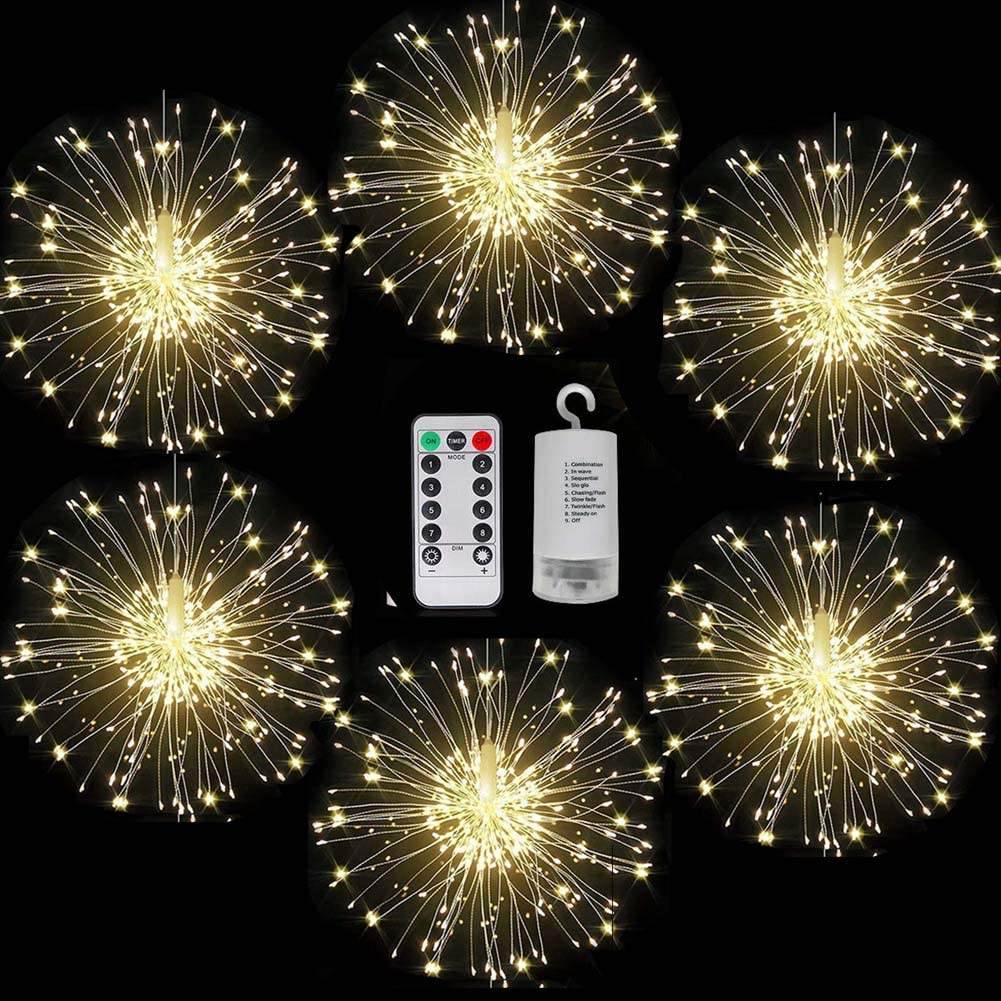 FOOING 6 Pack Firework Lights led Copper Wire Starburst String Lights 8 Modes Battery Operated Fairy Lights with Remote,Decorative Hanging Lights for Party Patio Bedroom Christmas Decoration
