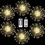 6 Pack 120 LED Copper Wire Firework Lights Battery Operated Fairy Lights with Remote,8 Modes Starburst Lights Waterproof,Christmas Decorative Hanging Lights for Party Patio Bedroom (White)
