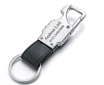 silber ID Schlüsselanhänger mit Gravur nach Wunsch Edelstahl /& Leder schwarz
