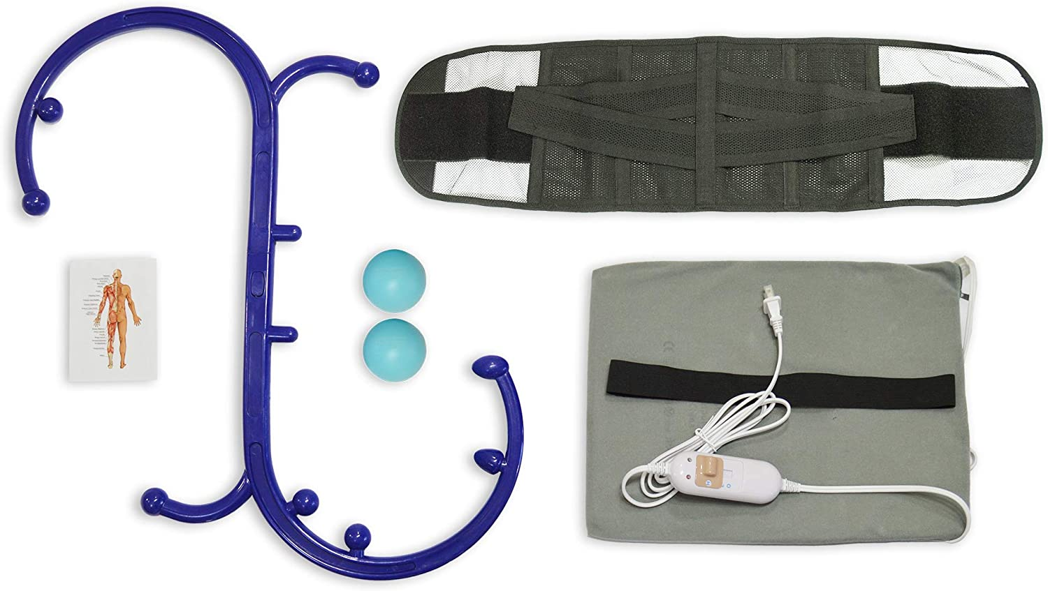 Back Pain Relief Pack: Heating Pad, Back Massager, Back Brace, (2) Massage Ball
