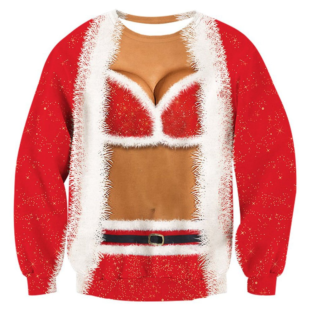 RAISEVERN Womens Ugly Christmas Sweater Funny Sex Design Fake 2 Pieces Pullover Sweatshirt Red 2 2017 Style No.4(fake 2 Pieces) X-Large