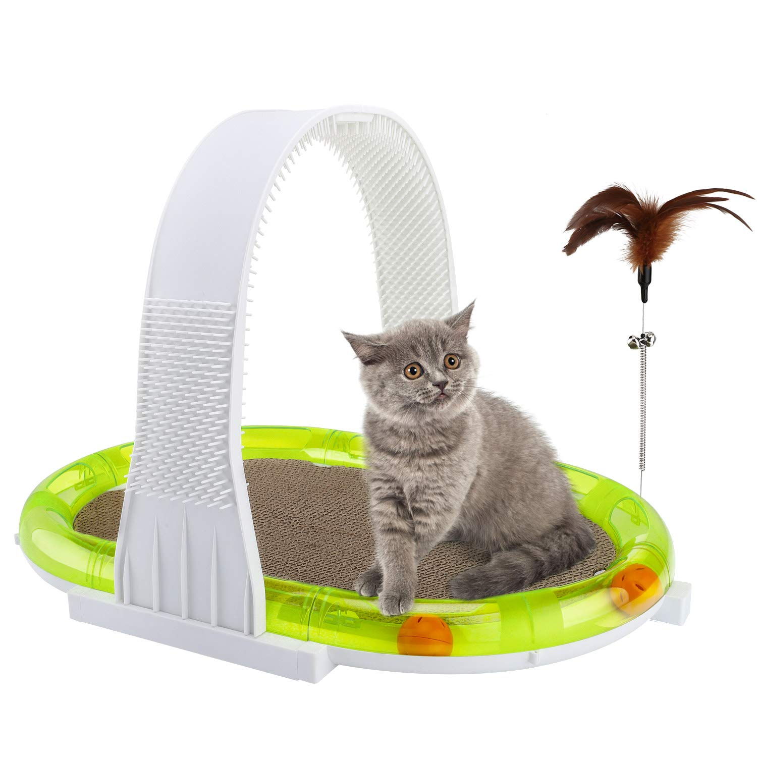 Pawaboo 4 in 1 Scratcher Cat Toy, Multiple Function Pet Cat Scratching Corrugated Board Toy Pad with Catnip Arched Scratch Board Interactive Feather Teaser Toy with Toy Ball Track for Cat Kitty, Green by PAWABOO
