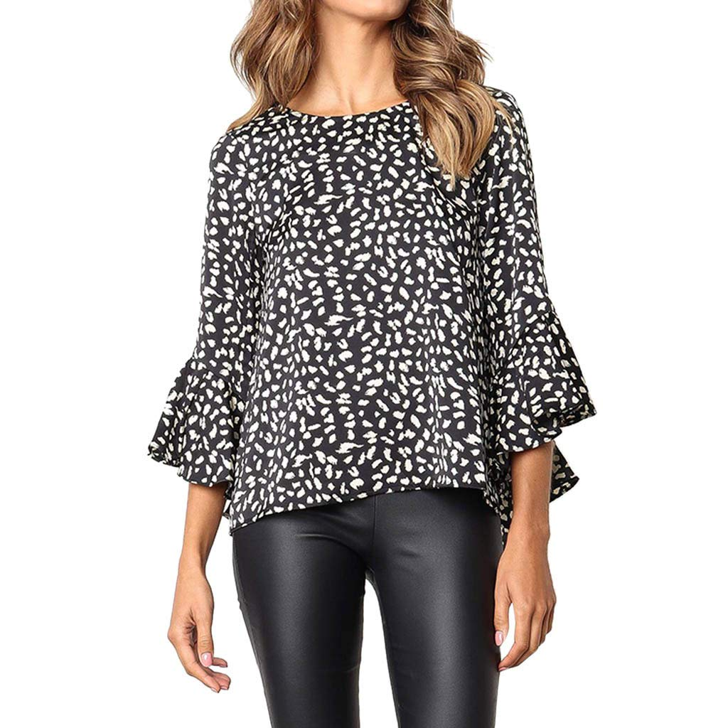 Bohelly Selling Women's Work Casual Horn Long Sleeve Print Women's Round Neck Casual Trumpet Sleeve Loose Shirt T-Shirt Top Black