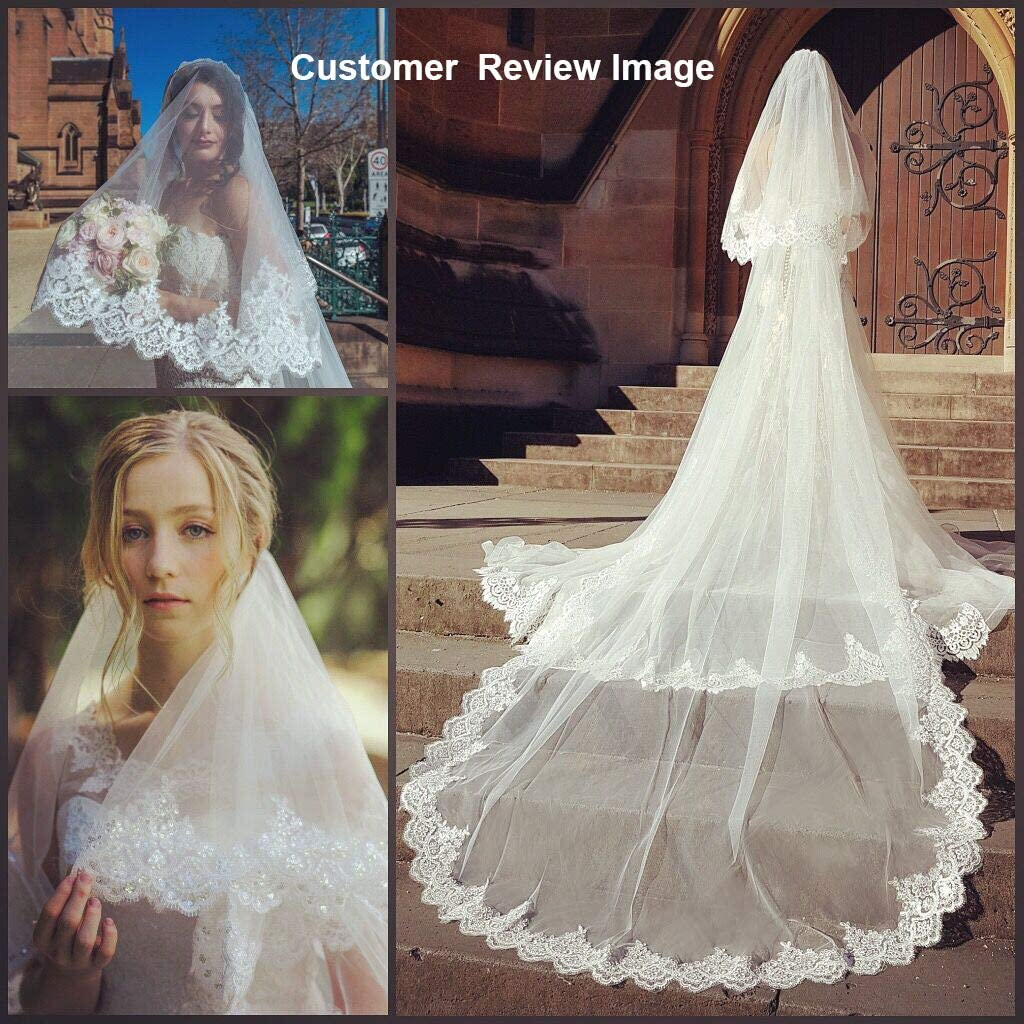 EllieHouse Womens Long 2 Tier Lace Wedding Bridal Veil With Metal Comb L70