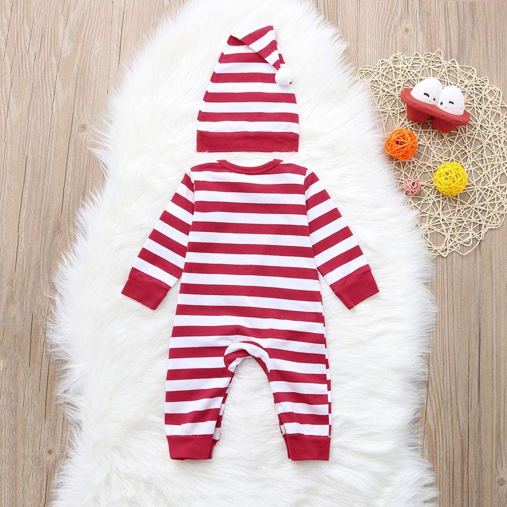 Baby Christmas Pajamas Infant Toddler Boy Girl Winter Clothes 2pc Ugly Santa Claus Print Romper Jumpsuit Kehen Hat