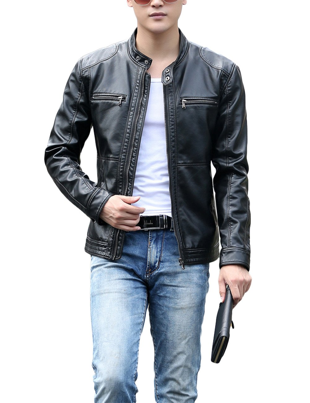 Casual Slim Faux Leather Outerwear Jackets for Men Black