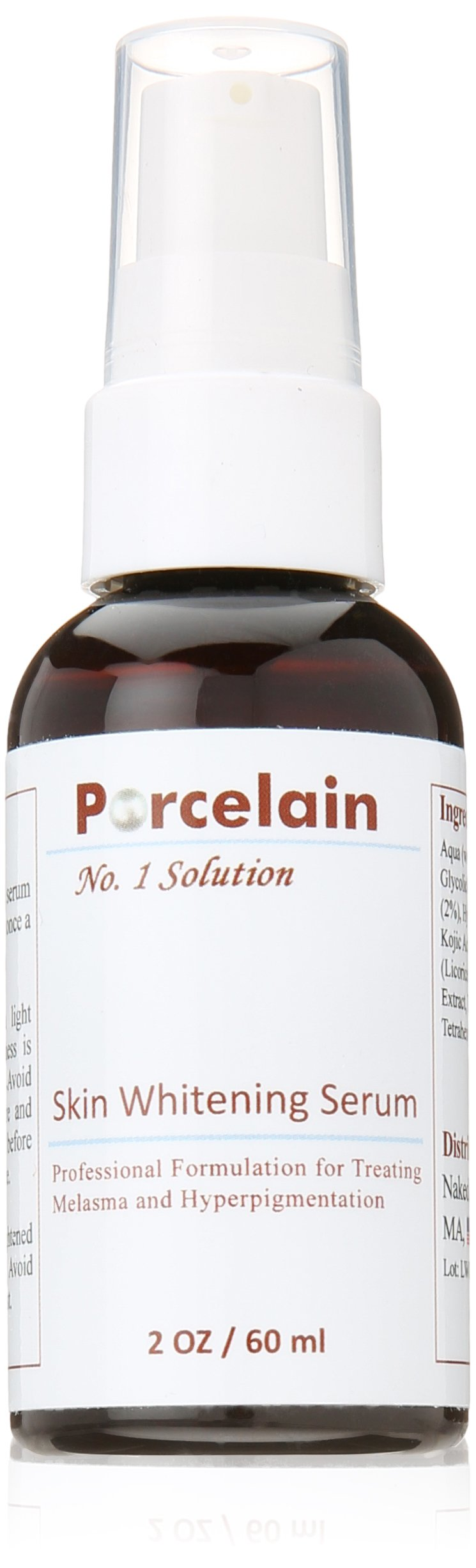 Procelain Skin Whitening Serum Hydroquinone Kojic Acid Glycolic Acid Vitamin C Licorice Mulberry Extract for Melasma, Hyperpigmentation 2oz