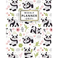 2021 Weekly Planner: Adorable Panda Bear 12 Month Agenda, Calendar, Diary   Forest Floral One Year Organizer with Vision…