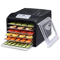 BioChef Arizona Sol Food Dehydrator 6 x BPA Free Stainless Steel Drying Trays & Digital Timer - Includes: 1 x Non Stick & 1 x Fine Mesh Sheet & Drip Tray. Best Drier for Raw Food, Fruit, Jerky